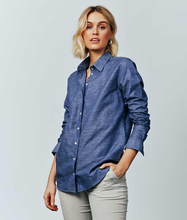 Skjorta Mickan Delsbo Linne Navy The Shirt Factory