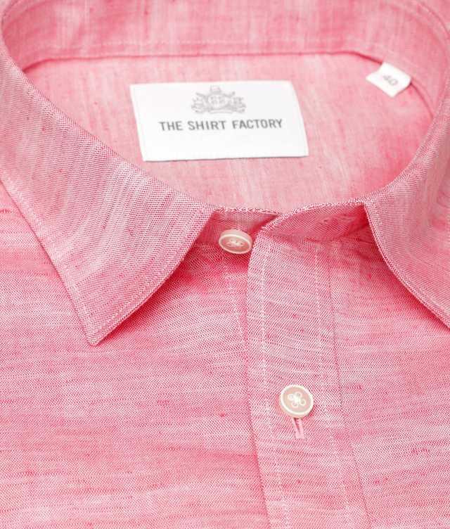 Skjorta Delsbo Linne Röd kort ärm The Shirt Factory