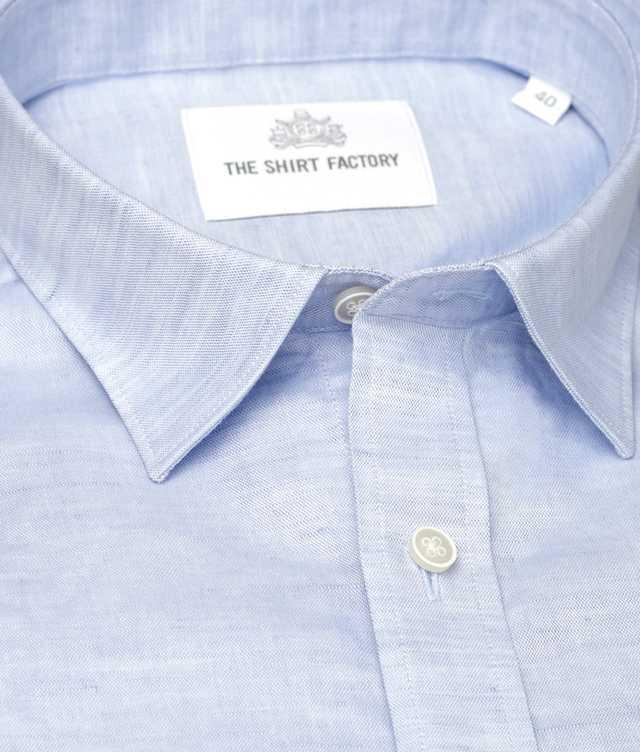 Skjorta Delsbo Linne Blå kort ärm The Shirt Factory