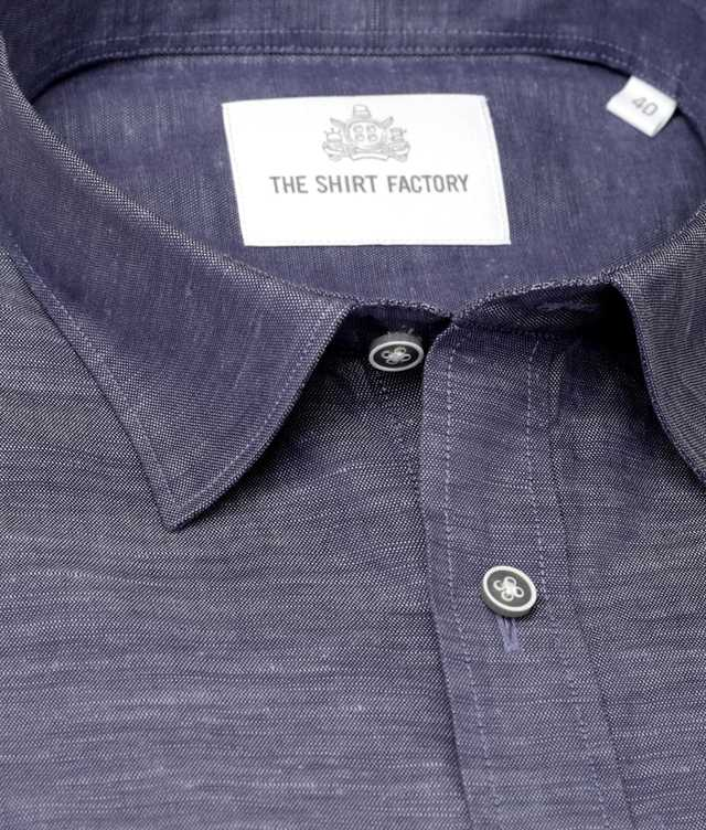 Shirt Delsbo Linne Navy The Shirt Factory