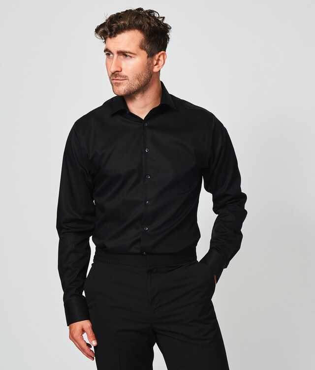 Slim fit - Grand Twill Strykfri Svart