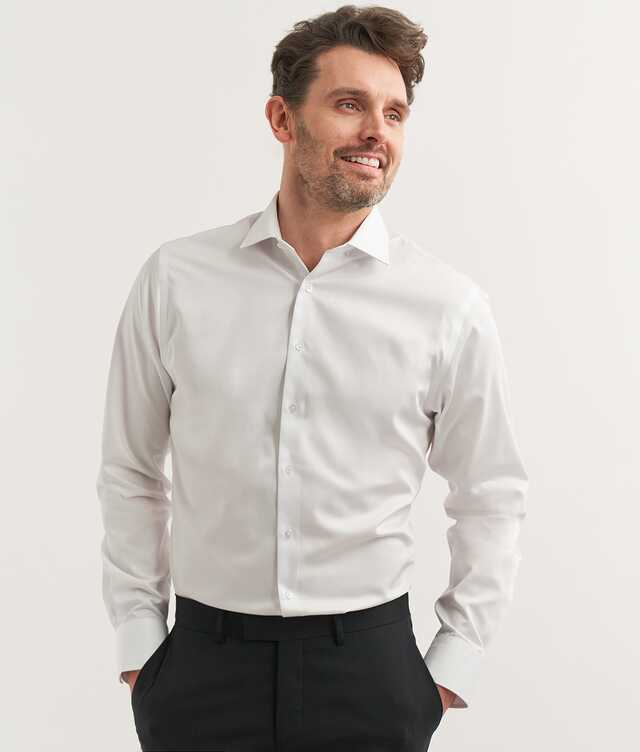 Slim fit - Grand Twill Strykfri Vit