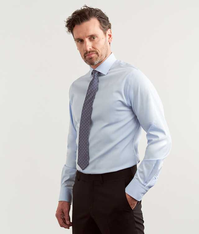 Slim fit - Grand Twill Strykfri Ljusblå