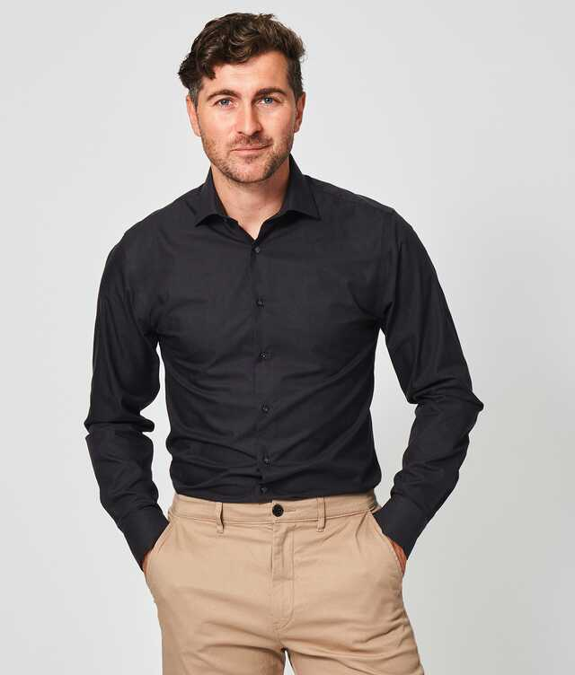 Slim fit - Grand Twill Strykfri Mörkgrå