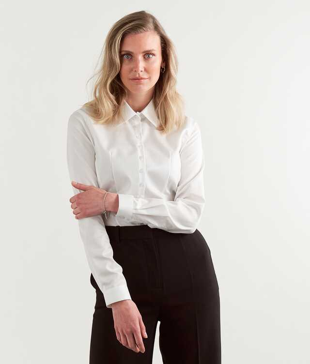 Skjorta Moa Grand Twill Strykfri Vit The Shirt Factory